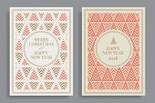 Set Of Winter Holidays Greeting Cards With Geometric Pattern Background. Merry Christmas And Happy N poster