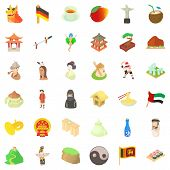 Culture Of Country Icons Set. Cartoon Style Of 36 Culture Of Country Vector Icons For Web Isolated O poster