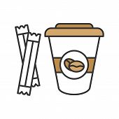 Coffee To Go With Sugar Sachets Color Icon. Disposable Coffee Cup With Lid. Isolated Vector Illustra poster