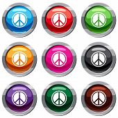 Sign Hippie Peace Set Icon Isolated On White. 9 Icon Collection Vector Illustration poster