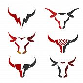Best Simple Bull Head Vector Logo Set Concept Illustration, Simple Buffalo Head Logo, Bull Head Logo poster