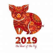 Pig Is A Symbol Of The 2019 Chinese New Year. Decorative Ornamented Zodiac Sign Pig On White Backgro poster