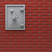 stock photo of bank vault  - Metal safe in red brick wall - JPG
