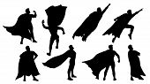 Illustration Of Super Hero Silhouette Set Isolated On White Background poster