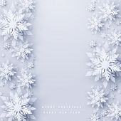 Vector Christmas And New Year Holidays Background With Realistic Looking Paper Craft Snowflakes. Sea poster