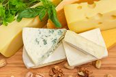 Top View Of Pieces Of Different Soft And Semi-soft Cheese With Mold, Medium-hard And Hard Cheese Amo poster