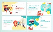 Set Of Web Page Design Templates For Restaurant, Seafood, Sushi, Food And Drink. Vector Illustration poster