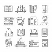 Line Art Book Icons. Literary Magazines, Study Diary And Bible Textbooks Bookstore Symbols. Open Pag poster