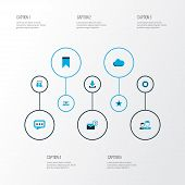 Media Icons Colored Set With Overcast, Mates, Dialogue And Other Dialog Elements. Isolated  Illustra poster