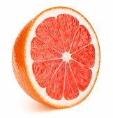 Perfectly Retouched Sliced Half Of Grapefruit Isolated On The White Background With Clipping Path. O poster