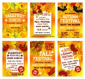 Autumn Festival Poster Template Set. Fall Season Harvest Celebration Banner, Adorned By Yellow Maple poster