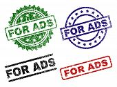 For Ads Seal Prints With Corroded Surface. Black, Green, Red, Blue Vector Rubber Prints Of For Ads C poster