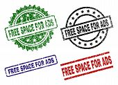 Free Space For Ads Seal Imprints With Corroded Surface. Black, Green, Red, Blue Vector Rubber Prints poster