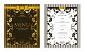 Design Restaurant Menu Template With Gold Floral Border Frame (black Stripy Pattern). Elegant Luxe G poster