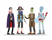Halloween Adult Costumes Set. Attractive Clothing For Party. Pirate, Vampire And Alien Costumes For  poster