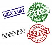 Only 1 Day Seal Prints With Corroded Surface. Black, Green, Red, Blue Vector Rubber Prints Of Only 1 poster