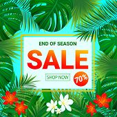 Sale Banner. Seasonal Promotion Poster. Summer Tropic Sellout Design.floral Background With Exotic T poster