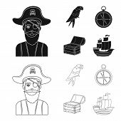 Pirate, Bandit, Hat, Bandage .pirates Set Collection Icons In Black, Outline Style Vector Symbol Sto poster