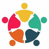 Meeting Room People Logo.group Of Four Persons In Circle poster