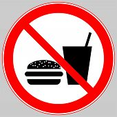 No Food Allowed Symbol, No Eating, No Food Or Drink Area Sign, Food And Drink Prohibition Sign poster