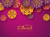 Diwali Festival Holiday Design With Paper Cut Style Of Indian Rangoli. Purple Color Background. Vect poster
