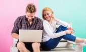Surfing Web Together. Couple Cheerful Spend Leisure With Laptop Surfing Web Watch Video. Couple In L poster