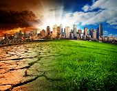 stock photo of nuclear disaster  - A city showing the effect of Climate Change - JPG