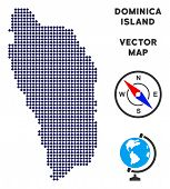 Постер, плакат: Pixelated Dominica Island Map Abstract Geographic Map Pixels Have Rhombic Shape And Dark Blue Colo