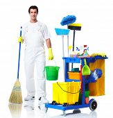 stock photo of janitor  - Professional cleaner man with janitor cart - JPG