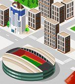 Постер, плакат: Футбольный стадион Изометрические