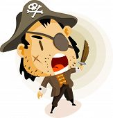 Capitão pirata. Detailed colorido vector Illustration.
