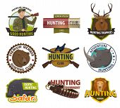 Hunter Club Member Badges Or Hunting Open Season Icons. Vector Premium Shields Set Of Hunter With Ri poster