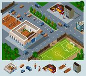 School environment. Set of very detailed isometric vector
