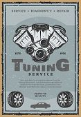 Car Auto Tuning Service Or Retro Poster. Vector Vintage Design Of Car Tires With Light Alloy Wheels  poster