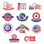 Made In Usa Premium Quality Product Tags Set. Vector Badge Made In America With American Flag Stripe poster