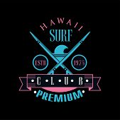 Hawaii Surf Club Premium Estd 1975 Logo Template, Design Element Can Be Used For Surf Club, Shop, T  poster