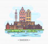 National Swedish Landmarks. Stockholm And Drottningholm Palace. City Hall And Nobel Museum. Stortorg poster