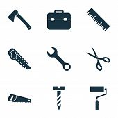 Handtools Icons Set With Wrench, Scissors, Hatchet And Other Shears Elements. Isolated Vector Illust poster