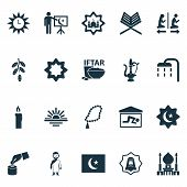 Religion Icons Set With Candle, Rub El Hizb, Rosary Oriental Jug Elements. Isolated  Illustration Re poster