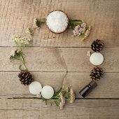 Nutrition Spa Wreath, Spa And Wellness Setting With Sea Salt, Oil Essence, Cones And Candle On Woode poster
