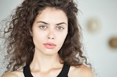 Fashion Portrait Of Young Brunette Woman With No Makeup, Shallow Depth Of Field poster