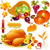 image of cornucopia  - Thanksgiving set - JPG