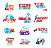 Big Set Of Logos, Journalist Logotypes, Fresh World Live News Broadcast, Tropical News, Social Media poster