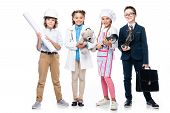 Happy Schoolchildren In Costumes Of Different Professions Isolated On White poster