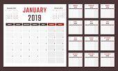 2019 Year Calendar, Calendar Design For 2019 Starts Monday poster