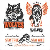 Vintage Wolf Motorcycle Label - Vector Set On White poster