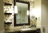 picture of bathroom sink  - Modern bathroom in a hotel or luxury condo - JPG