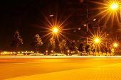 Night City Street Lights, Bokeh, Background, Darkness. Night Lights Of The City Rays From The Lights poster