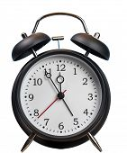 Time Running Out Concept With Alarm Clock Approaching Midnight And Isolated Against White Background poster