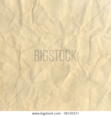 Sheet Crushed Paper, Abstract Background, Vector Illustration
